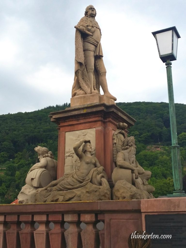 Heidelberg Germany Prince Elector Carl Theodor statue at Old Bridge
