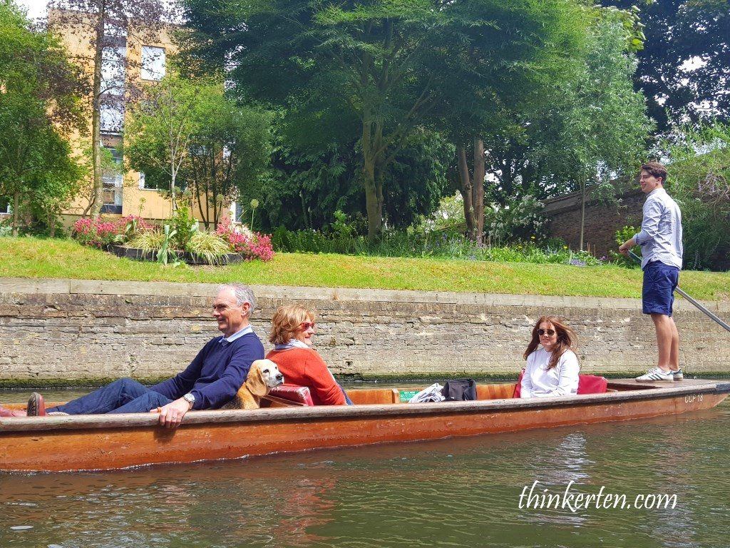 Punting in River Cam at Cambridge UK
