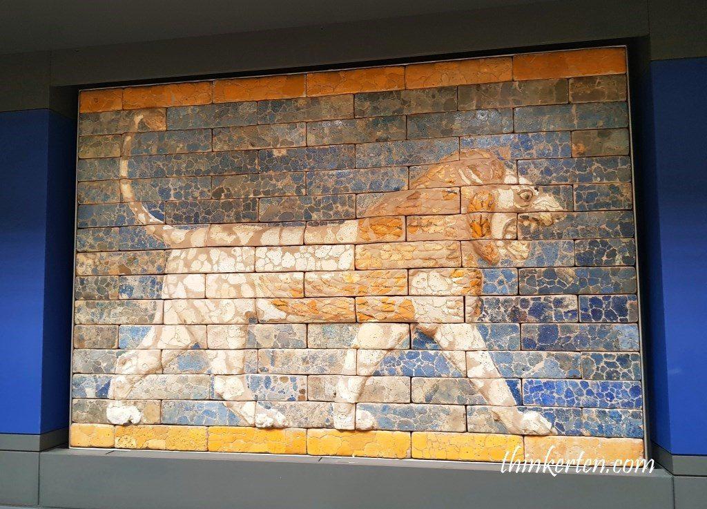 A roaring lion wall panel from King Nebuchadnezzar II throne room, Babylon, Mesopotamia